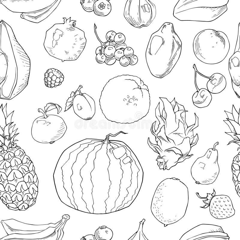 Нарисованная рука приносить безшовная картина Здоровая предпосылка вектора еды иллюстрация штока