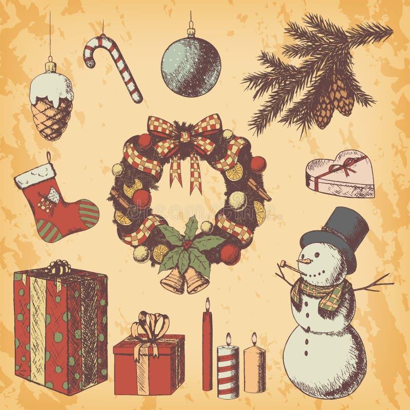 Нарисованная рука рождества или Нового Года покрасила иллюстрацию вектора Эскиз атрибутов и символов, винтажный стиль, снеговик бесплатная иллюстрация