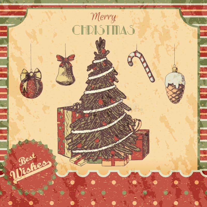 Нарисованная рука рождества или Нового Года покрасила иллюстрацию вектора - карточку, плакат Подарки, дерево с орнаментами, год с иллюстрация штока