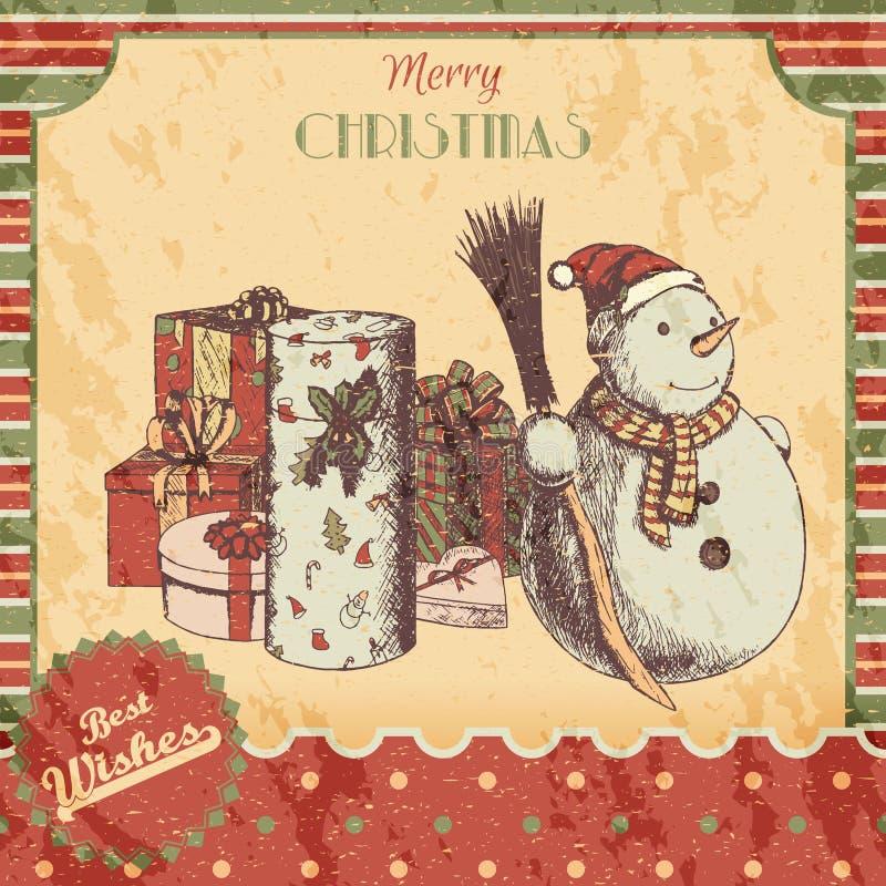 Нарисованная рука рождества или Нового Года покрасила иллюстрацию вектора - карточку, плакат Снеговик в шляпе зимы с веником и по иллюстрация штока