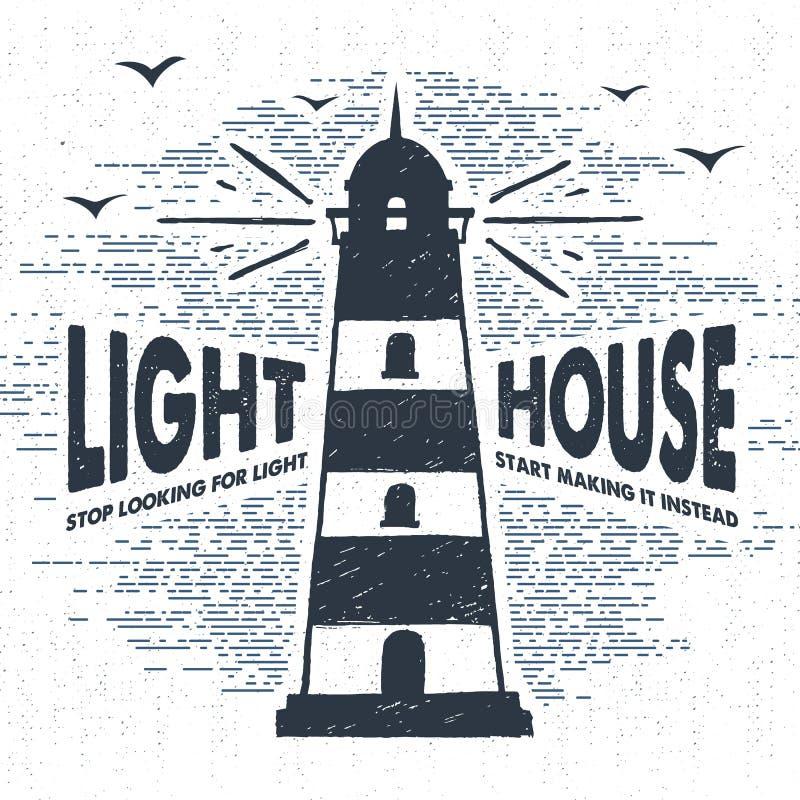 Нарисованная рука текстурировала винтажный ярлык с иллюстрацией вектора маяка иллюстрация штока