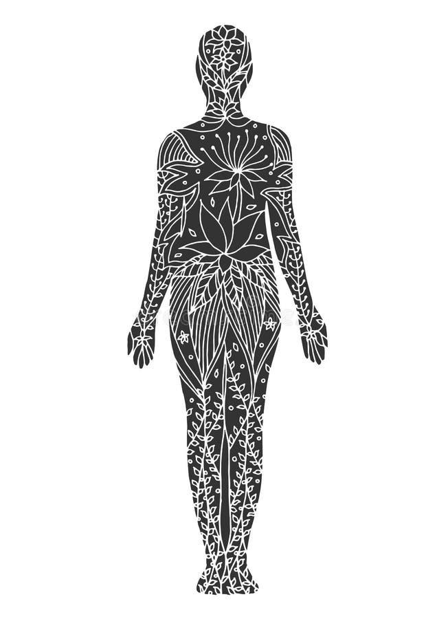 Нарисованная рука цветка вектора chakra йоги 7 представления горы флористическая иллюстрация штока