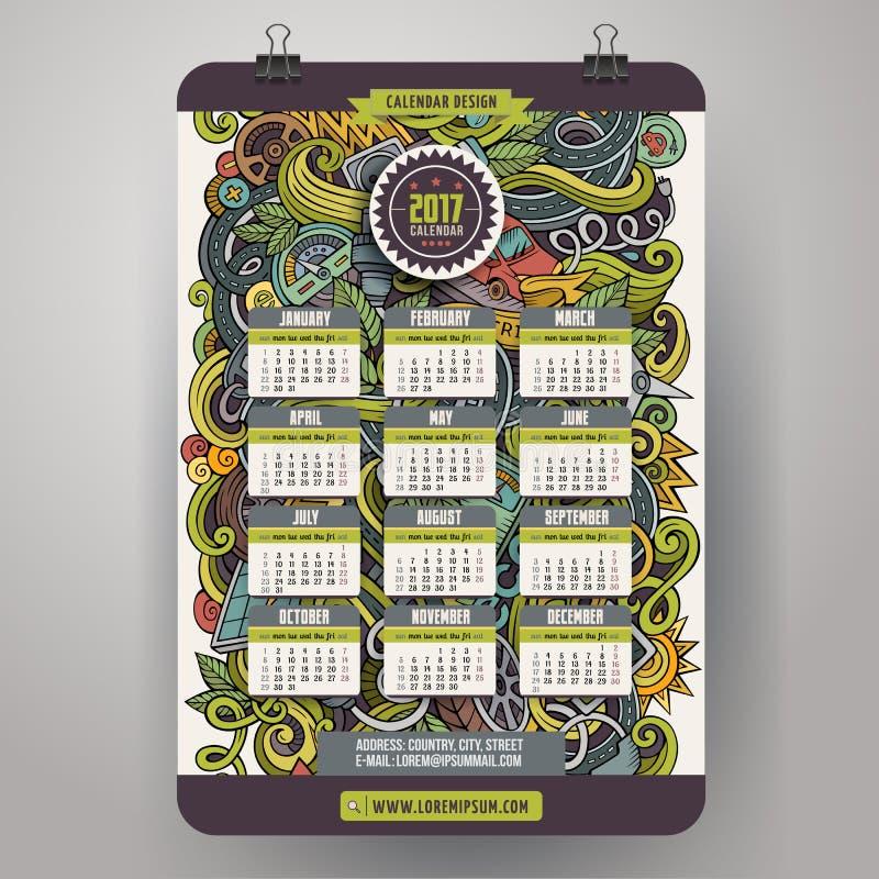 Нарисованная рука шаржа doodles электрические автомобили календарь 2017 год иллюстрация вектора