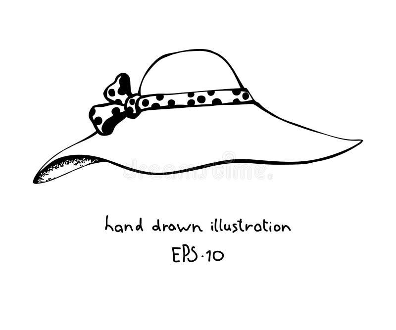 Нарисованная рука шляпы женщин лета иллюстрация вектора
