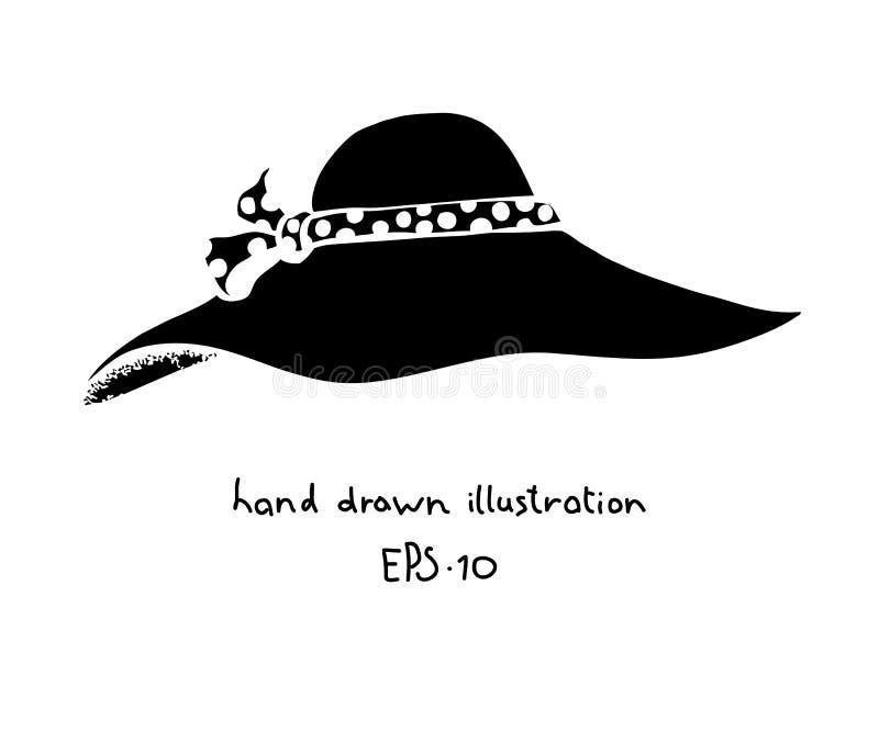 Нарисованная рука шляпы женщин лета иллюстрация штока