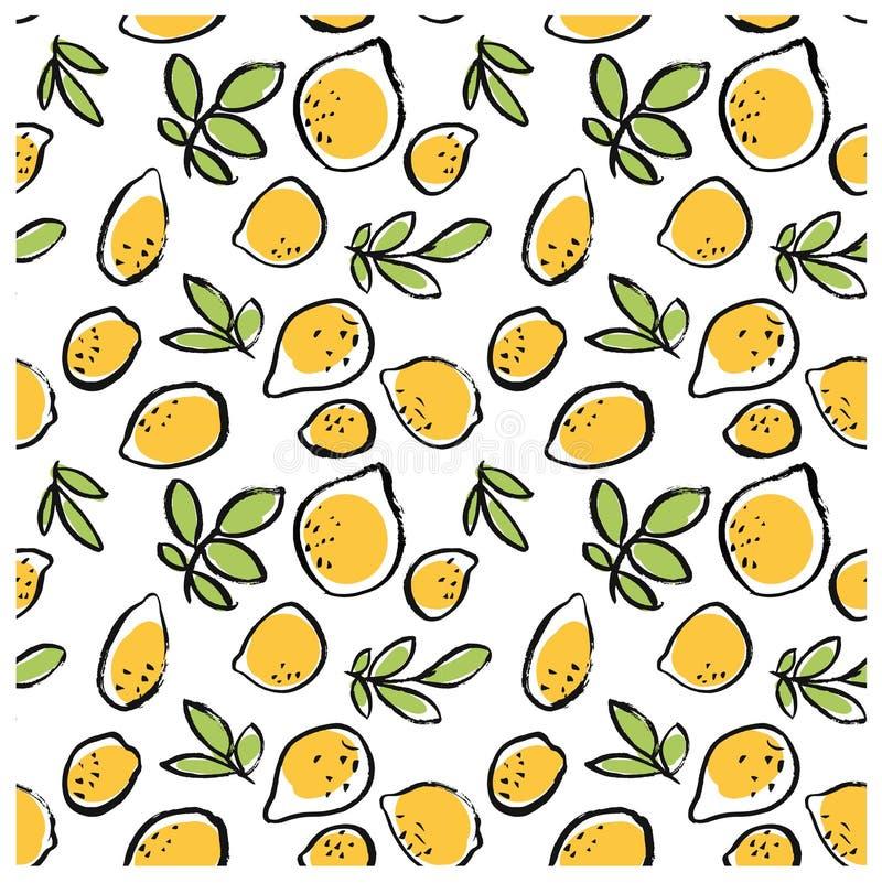 Нарисованная рука doodle излишка бюджетных средств изолировала картину лимона безшовную на белой предпосылке бесплатная иллюстрация