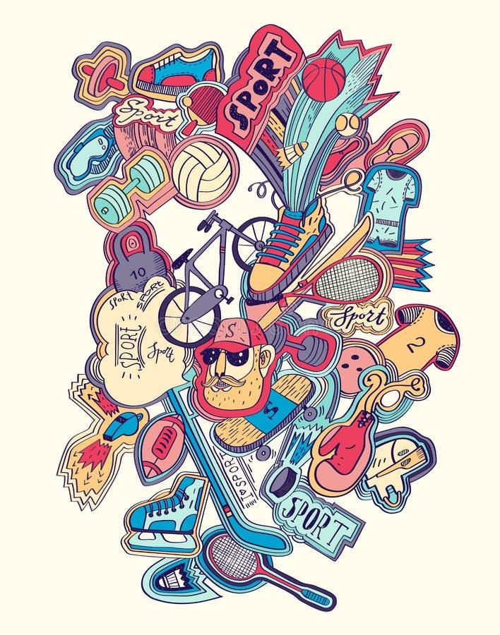 Нарисованная рука doodles концепция спорта лыжа иллюстрации оборудования расцветки резвится вода иллюстрация вектора