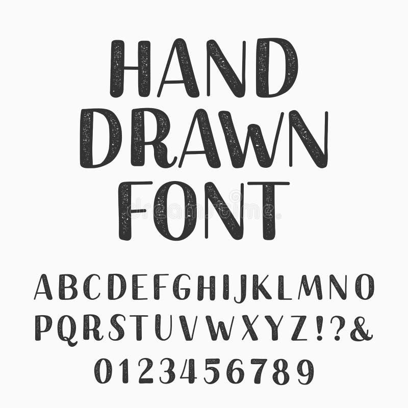 Нарисованная рука typeset Шрифт вектора алфавита Напечатайте письма и номера иллюстрация штока