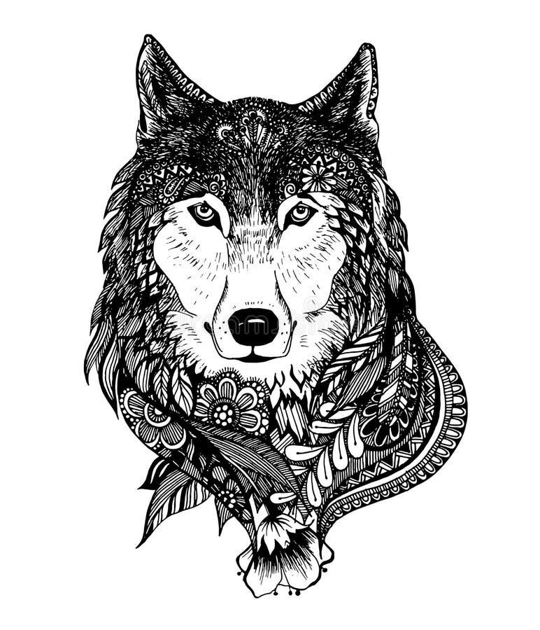 Нарисованная рукой абстрактная иллюстрация вектора волка иллюстрация штока