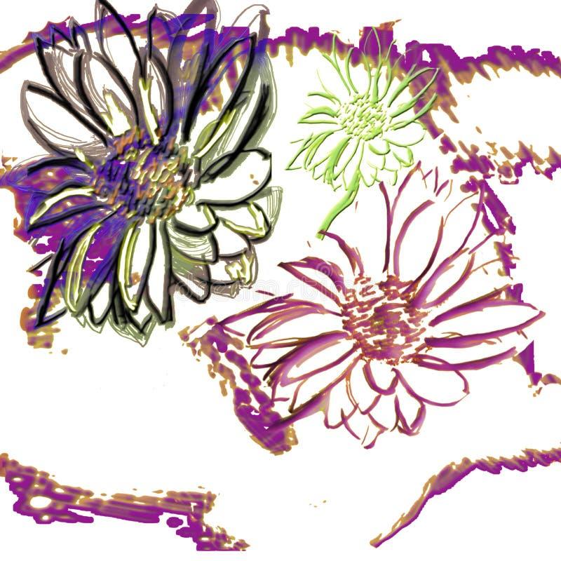 Нарисованная рукой безшовная картина картины цветков хризантемы Иллюстрация чернил ботаническая на голубой предпосылке Открытка,  стоковые изображения rf