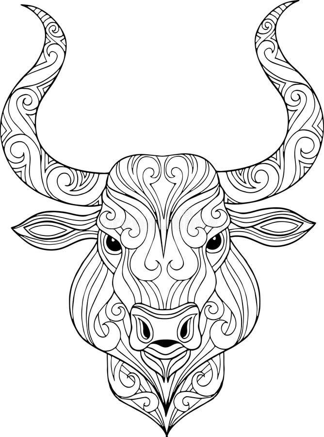 Нарисованная рукой богато украшенная иллюстрация головы быка doodle иллюстрация штока