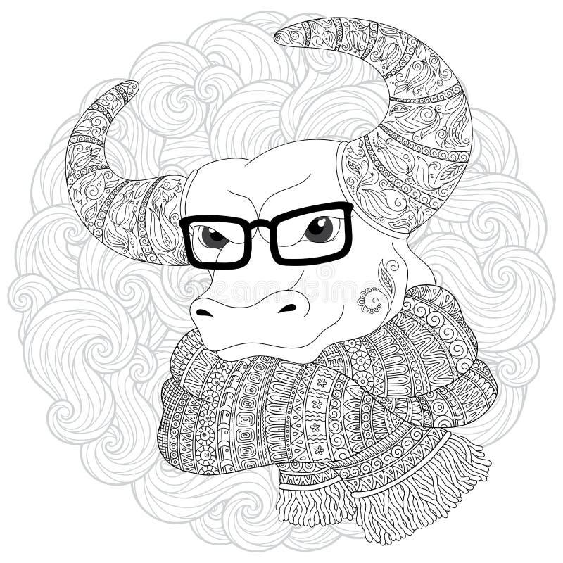 Нарисованная рукой голова коровы плана doodle украшенная с орнаментами иллюстрация вектора