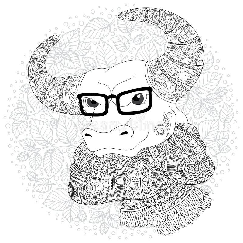 Нарисованная рукой голова коровы плана doodle украшенная с орнаментами бесплатная иллюстрация