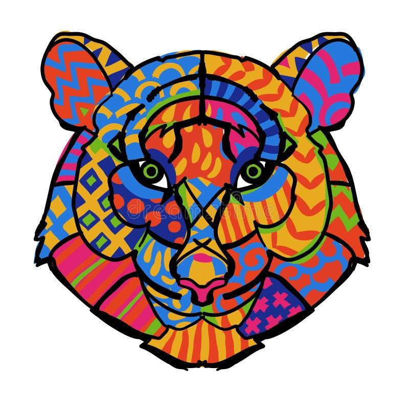 Нарисованная рукой голова тигра плана doodle бесплатная иллюстрация