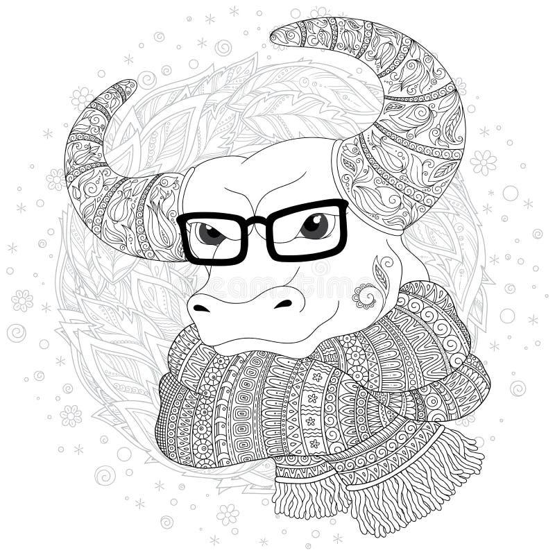 Нарисованная рукой голова коровы плана doodle украшенная с орнаментами иллюстрация штока