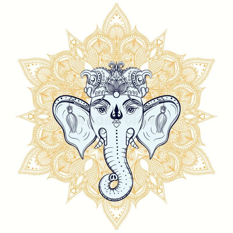 Нарисованная рукой голова слона на предпосылке орнамента Индийский лорд бога бесплатная иллюстрация