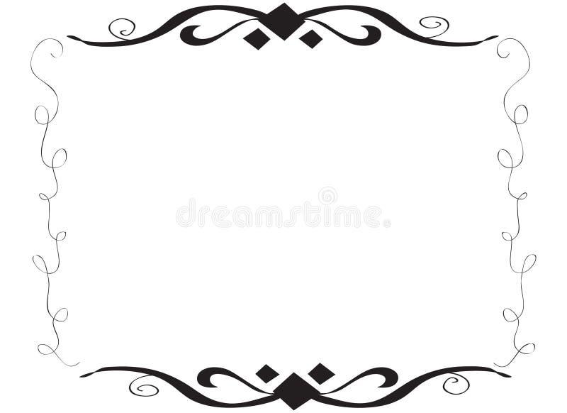 Нарисованная рукой декоративная спиральная граница рамки иллюстрация штока