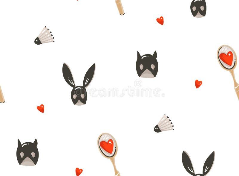 Нарисованная рукой иллюстраций концепции дня валентинок шаржа конспекта вектора картина современных счастливых безшовная с сексом иллюстрация вектора