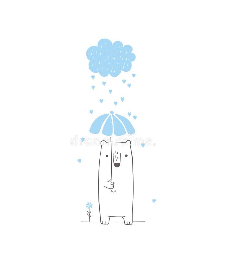 Нарисованная рукой иллюстрация вектора детского душа Голубое облако с падая сердцами, милый белый медведь бесплатная иллюстрация