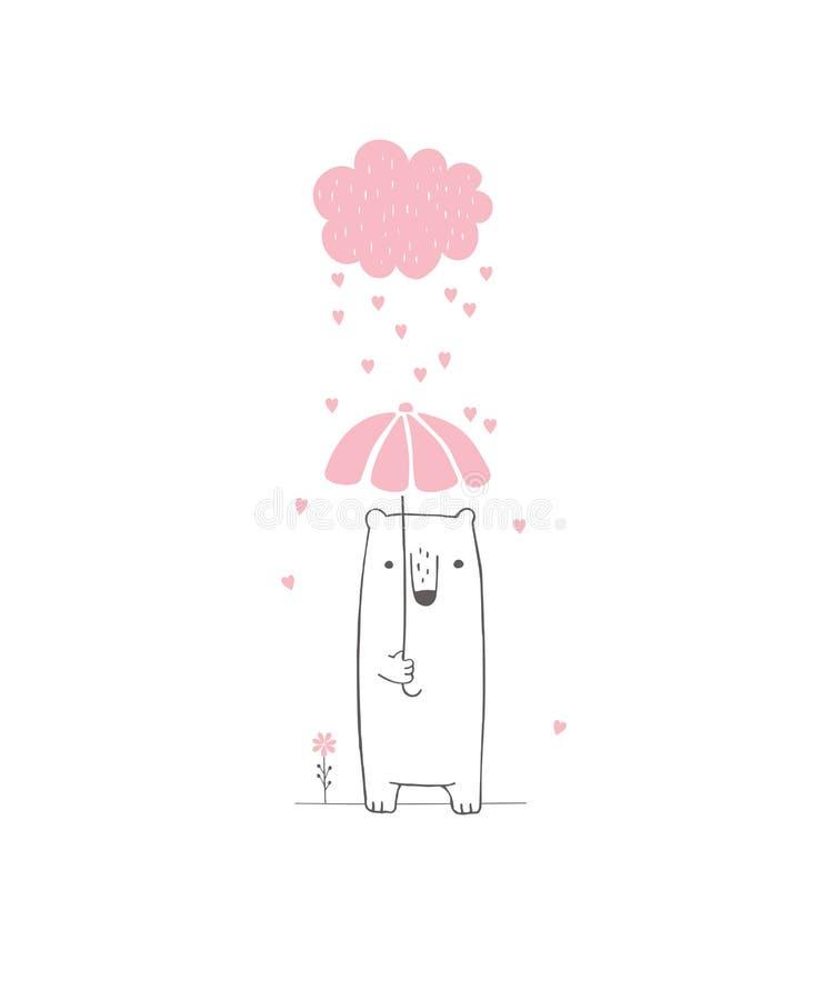 Нарисованная рукой иллюстрация вектора детского душа Розовое облако с падая сердцами, милый белый медведь иллюстрация вектора