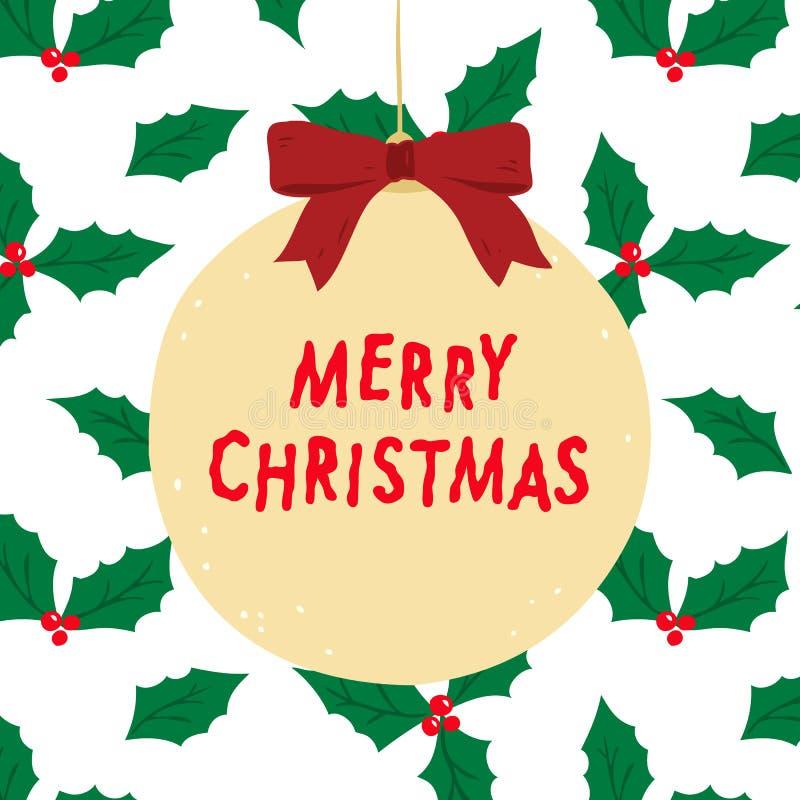Нарисованная рукой иллюстрация вектора с Рождеством Христовым литерности с ягодой падуба выходит предпосылка картины иллюстрация штока
