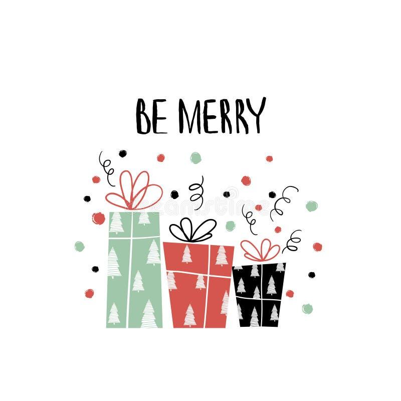 Нарисованная рукой литерность праздника Собрание рождества уникально литерности для поздравительных открыток, неподвижной, подарк иллюстрация штока
