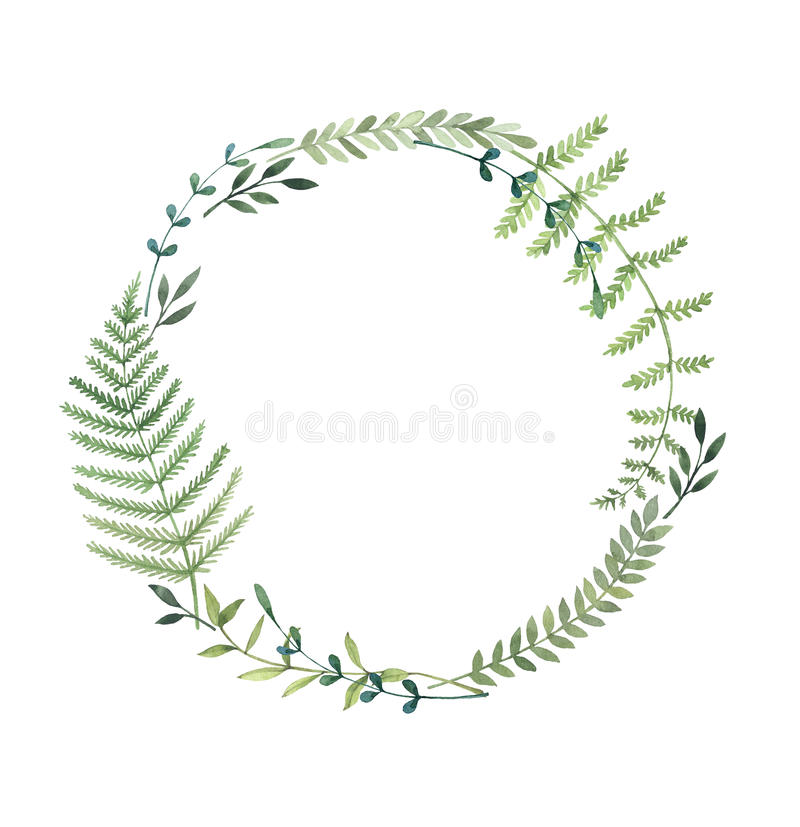 Нарисованная рукой иллюстрация акварели Лавровый венок с листьями иллюстрация штока