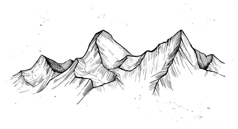Нарисованная рукой иллюстрация вектора - горные пики располагаться лагерем напольный иллюстрация штока