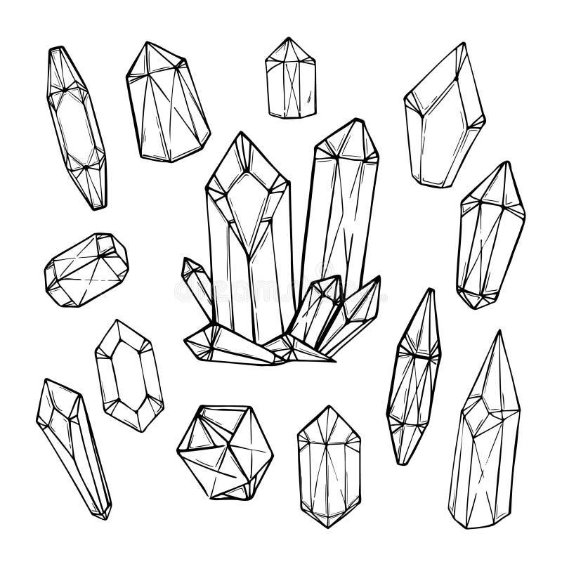 Нарисованная рукой иллюстрация вектора - комплект геометрических кристаллов бесплатная иллюстрация