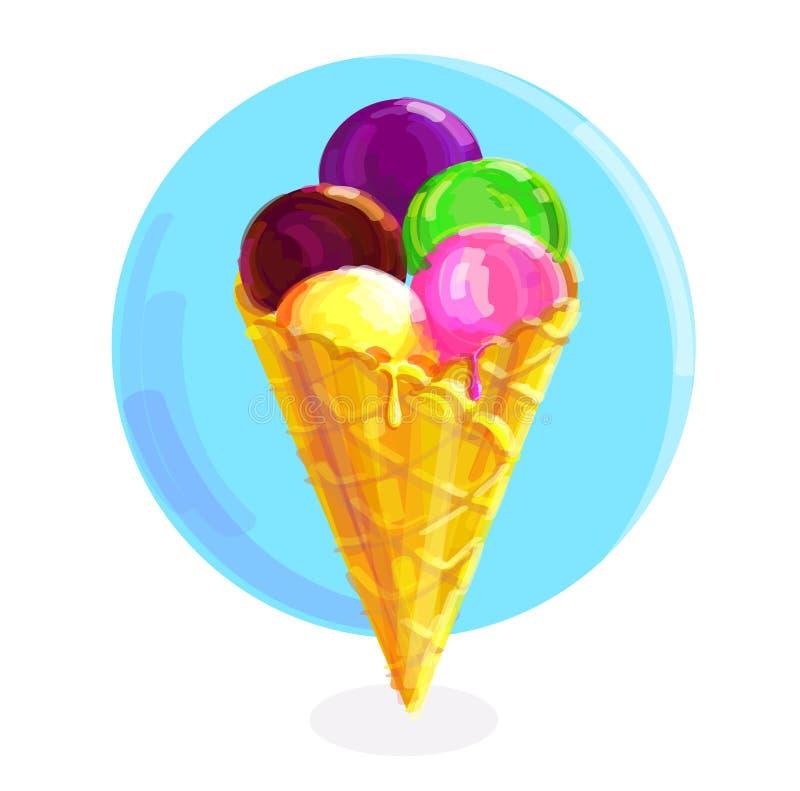 Нарисованная рукой иллюстрация вектора милого конуса мороженого иллюстрация вектора