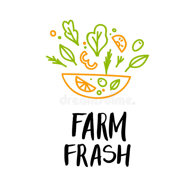 Нарисованная рукой иллюстрация вектора - ферма свежая логос Органический и v иллюстрация вектора