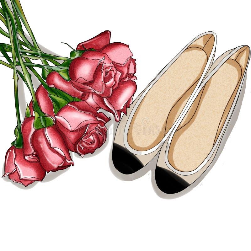 Нарисованная рукой иллюстрация моды - розовый букет и пара ботинок балерины иллюстрация штока