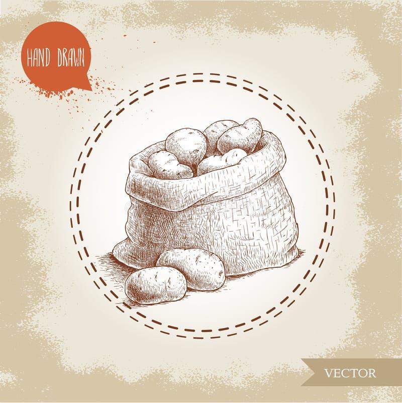 Нарисованная рукой иллюстрация стиля эскиза зрелых картошек в сумке мешковины иллюстрация штока