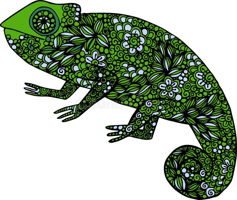 Нарисованная рукой иллюстрация хамелеона doodle красочная украшенная с орнаментами иллюстрация вектора