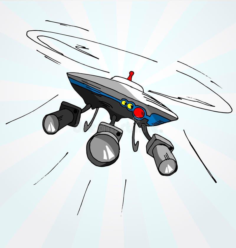 Нарисованная рукой иллюстрация шаржа трутня летания стоковое фото rf