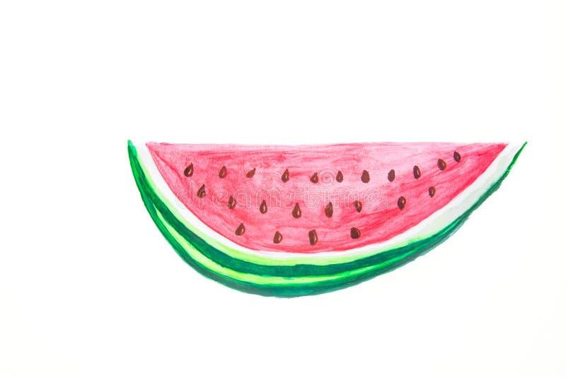 Нарисованная рукой картина акварели куска клина зрелого сочного арбуза с красными семенами вдавленного места в стиле детей Doodle стоковое изображение rf
