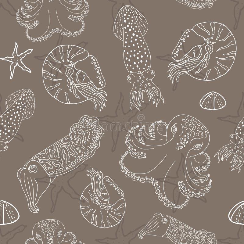 Нарисованная рукой картина головоногих безшовная иллюстрация штока