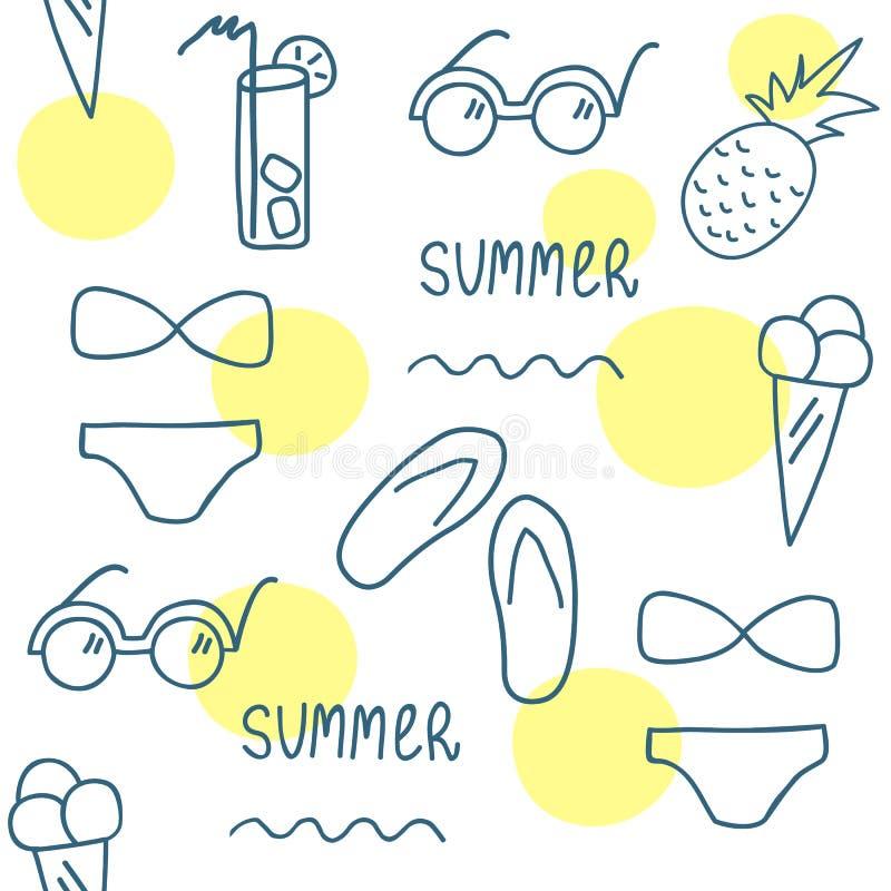 Нарисованная рукой картина лета безшовная Линия комплект элементов иллюстрация вектора