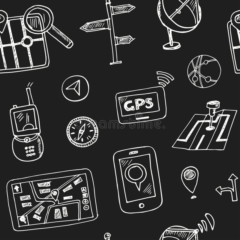 Нарисованная рукой картина навигации doodle безшовная иллюстрация штока
