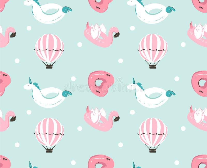 Нарисованная рукой картина потехи временени конспекта вектора безшовная с розовым поплавком фламинго, томбуем бассейна единорога, иллюстрация штока