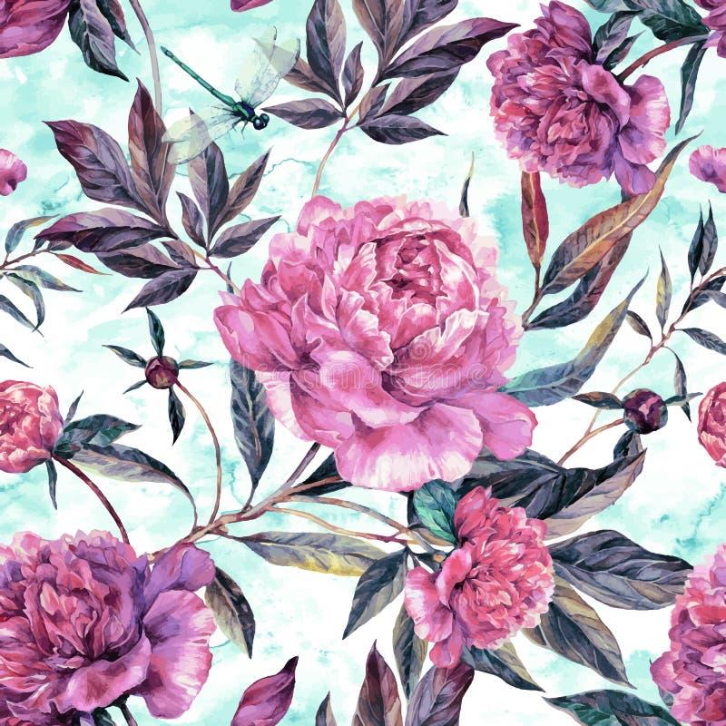 Нарисованная рукой картина розового букета пионов безшовная бесплатная иллюстрация