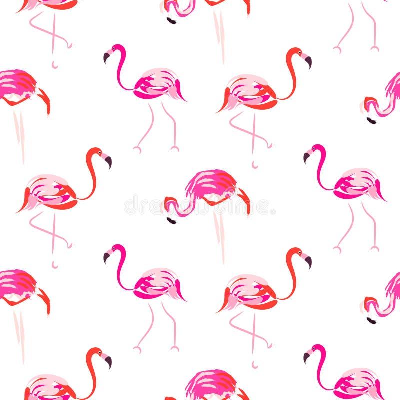 Нарисованная рукой картина розовой птицы фламинго безшовная бесплатная иллюстрация