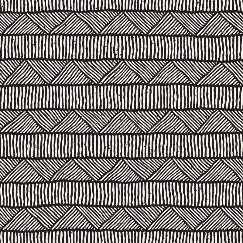 Нарисованная рукой картина стиля этническая безшовная Абстрактная геометрическая предпосылка tiling в черно-белом стоковая фотография