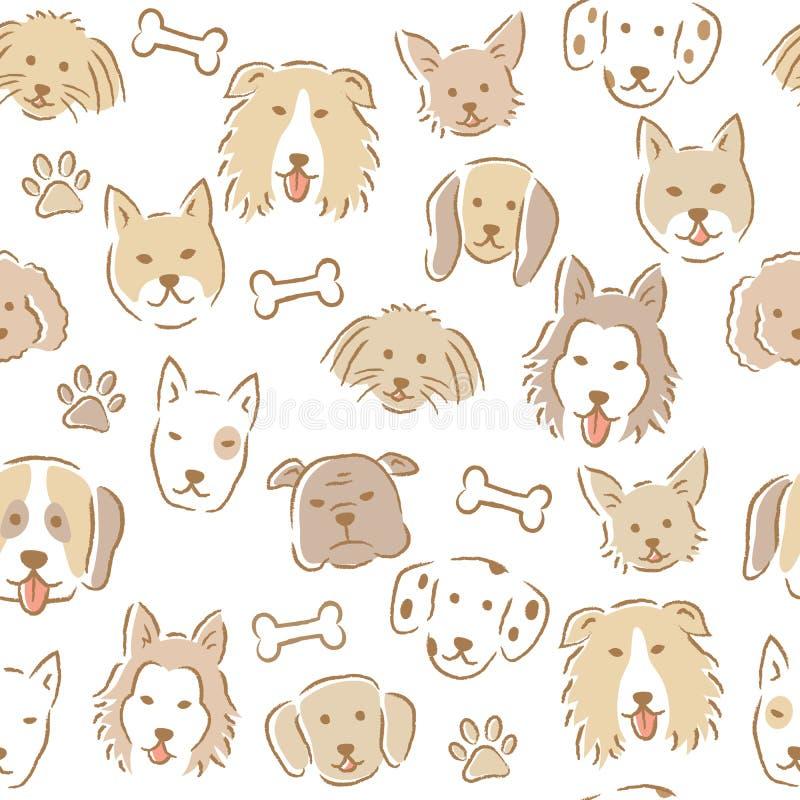 Нарисованная рукой картина стороны собаки шаржа безшовная различные милые собаки бесплатная иллюстрация