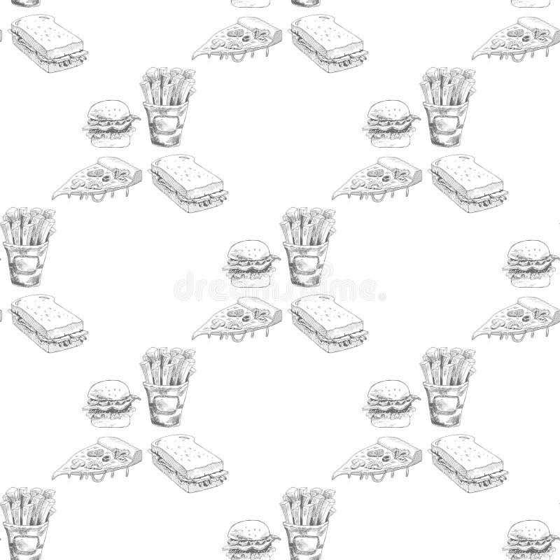 Нарисованная рукой картина фаст-фуда Бургер, пицца, француз жарит детальные иллюстрации иллюстрация вектора