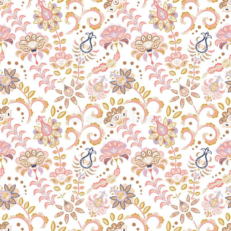 Нарисованная рукой картина цветка безшовная Красочная безшовная картина с цветками и листьями фантазии Doodle тип Улучшите для иллюстрация вектора