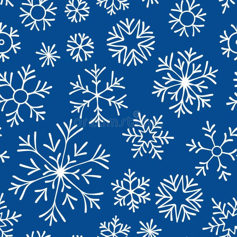 Нарисованная рукой картина doodle безшовная Белые снежинки на темной предпосылке Для ткани, ткань, упаковочная бумага, карта, при иллюстрация вектора