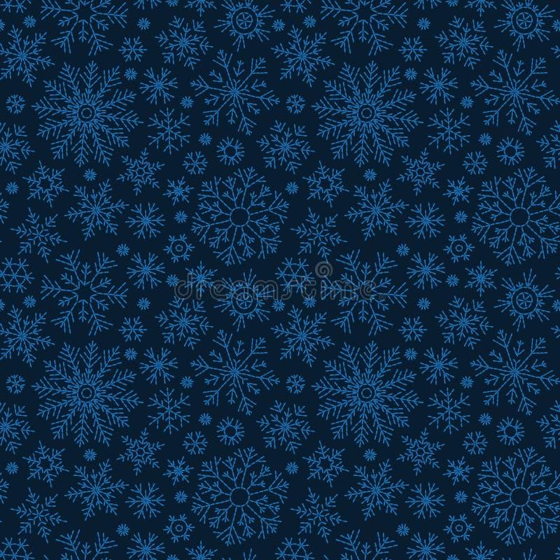 Нарисованная рукой картина doodle безшовная Голубые снежинки на темной предпосылке Для ткани, ткань, упаковочная бумага, карта, п иллюстрация вектора