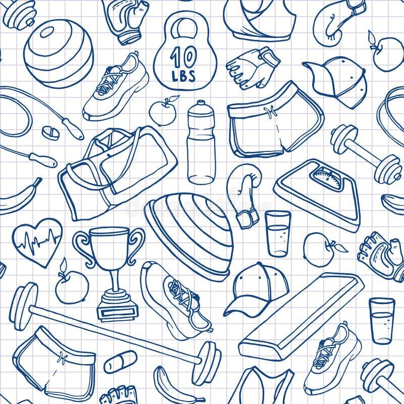 Нарисованная рукой картина doodle фитнеса безшовная Планы на приданный квадратную форму иллюстрация вектора