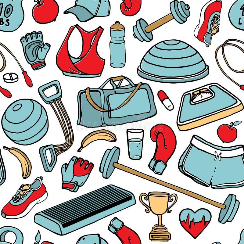 Нарисованная рукой картина doodle фитнеса безшовная также вектор иллюстрации притяжки corel бесплатная иллюстрация